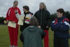 Siegerehrung im Diskuswerfen der Frauen. Nadine Beckel siegte mit 53,23m