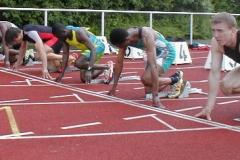 Start zum 100m A-Endlauf der Männer.