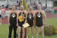 Senioren M40 Deutscher Meister 4x100m Staffel in Kevelaer Pradzynski,Hickisch,Meier,Umann