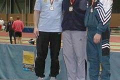 Siegerehrung Männer M50 200m v.l.n.r. Jürgen Umann, Meister Jochen Meyer, LG Olympia Dortmund, Dritter Wolfgang Lotz, Pulheimer SC
