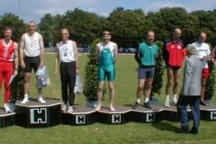 Siegerehrung DM Fünfkampf Hannover 26.06.04 Männer M45 Auf dem 4. Platz Joachim Hickisch
