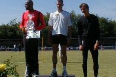 Siegerehrung 110m Hürden 1.Platz Jerome Crews, MTG Mannheim 2.Platz Dirk Riekmann, THW Kiel 3.Platz David Filipowski, TV Wattenscheid