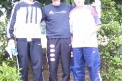 Siegerehrung 100m M 50 J.Umann 2. Platz, Helmut Meier Meister, Michael Gutsche LG Altmark 3. Platz