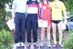 Siegerehrung M 50 200m Joachim Hickisch 2. Platz, Jürgen Umann Meister, Ingo Kaun 3.Platz, Helmut Meier 4.Platz