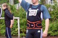 Speerwurfsieger Manuel Nau, SCC Berlin beim Anlauf