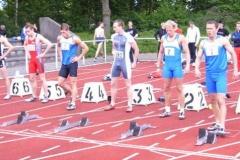 Start 100m A-Endlauf MännerSBBahn 1 A.Kosenkow, 3.Platz 10,72 sec. Bahn 2 Mark Blume, Platz 2 10,60sec., beide TV WattenscheidBahn 3 Sieger Willi Mathiszik LAZ Leipzig 10,52 sec.