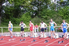 Start 110m Hürden A-Endlauf Bahn 4 Sieger Stefan Wieser TSV Bayer Leverkusen 13,77 sec.