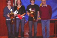 Kathrin Link TuS Alfstedt, Carmen Ludwig und Bruno Gärtner, beide TuS Rotenburg Pokalgewinner 2005 der Sparkasse Rotenburg-Bremervörde