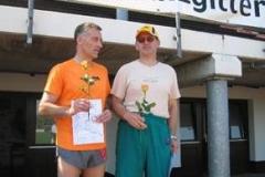 M50 100m Landesmeister Frank Kindermann und Zweitplatzierter Jürgen Umann