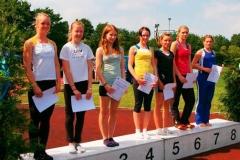 Auch im Weitsprung der weiblichen Jugend B wurde Anna Tomforde Bezirks- meisterin. Mit 5,34m sprang sie auf den ersten Platz vor Mareike Schuster. Mareike gehört noch der Klasse der Schülerinnen A W15 an und sprang auch sehr gute 5,26m.