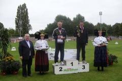 Siegerehrung 100m M50 Czeslaw Pradzynski und Hermann Mager. Es fehlt der neue Deutsche Meister