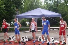 Aufstellung zum 110m Hürden Finale der Männer