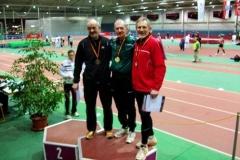 Siegerehrung 200m Helmut Meier, Deutscher Meister Karl Dorschner und Heinz Wondra