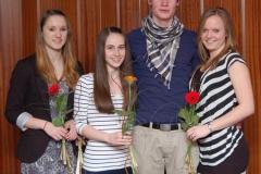 Mit der DLV-Bestennadel ausgezeichnet: v. l.n.r.: Sarina Holsten, Carolin Drewes, Niels Michaelis, Mareike Schuster.