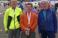 v.l.n.r.: Heino Fiehnen, Carsten Ahlfeld und Bernd Schulz beim Haspa Marathon Hamburg
