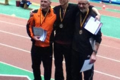 Siegerehrung 200m M60 W.Niemann, G. Brenner und Helmut Meier