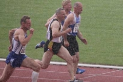100m Vorlauf M50 bei Starkregen