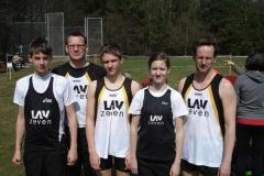 Niklas Bredehöft, Detlef Bredehöft, Janik Dohrmann, Lena Dohrmann und Rainer Dohrmann (v.li.) vertraten sehr erfolgreich die LAV Zeven bei den Hammerwurf-Bezirksmeisterschaften in Munster.