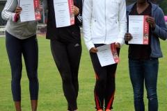(v.li.) Die 100m der weiblichen Jugend U20 gewann Jennifer Tuffour (SC Potsdam, 11,93 sec) vor Carmen Maske (SCC Berlin, 12,05 sec) und deren Vereinskameradin Laura Thomsen (12,18 sec). Claudia Bode (LG Nike Berlin) kam auf den 6. Platz.