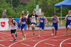 Die 4 x 100m Staffel der LAV Zeven mit Nico Holsten (Nr.197), Alexander Herzog (Nr. 873), Nils-Henrik Meyer und Steffen Meinke sicherte sich den ersten Platz bei der männlichen Jugend U18.