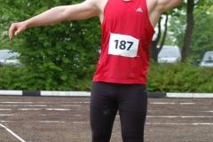 Janosch Bieck vom TSV Bremervörde gewann mit 16,26m den Wettbewerb im Kugelstoßen der männlichen Jugend U18.