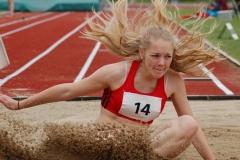 Marie-Anna Dunkhase (DSC Oldenburg) kam im Weitsprungwettbewerb der weiblichen Jugend U18 mit 5,43m auf den zweiten Platz.