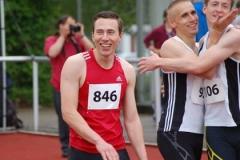Schnellster Mann über die 100m war am Sonnabend Stefan Schwab (Nr. 846, TSV Schwarzenbek) in 10,77 sec und hatte Grund zur Freude.