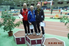 Siegerehrung 200m M65 Rudolf König, Reinhard Michelchen, Helmut Meier