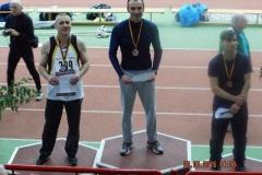 Siegerehrung nach den 60m-Entscheidungen mit Czeslaw Pradzynski (li.), dem Sieger Thomas Riehm und dem Drittplatzierten Hardy Puschmann.