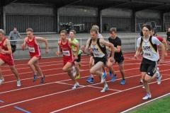 Szene aus dem 1000m-Lauf mit Nils-Henrik Meyer (Nr. 578) und Andreas Müller (Nr. 580).