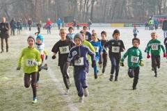 zi04: Lauf der männlichen Kinder über 860m. Gut zu sehen die späteren Kreismeister Anton Prigge (Nr. 71) und Simon-Gerard Bartosch (Nr. 54) von der LAV Zeven.