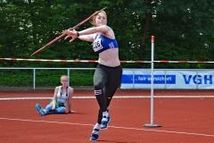 zi03: Julia Ulbricht (Nr. 226, 1. LAV Rostock) dominierte im Speerwurf der WJ U20 klar mit 47,17m.