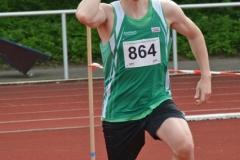 Jonas Baseda (SV Grün-Weiss Harburg) sicherte sich mit 60,26m den Sieg im Speerwurf der Männer.