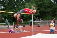 Der Schweriner Luca Meinke meistert 2.02 ohne Probleme, scheitert dann aber an 2,05 Meter.