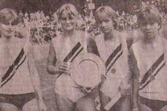 Dobrock Bergfest 1983 Sieger 4x100m Staffel weibl.Jugend B v.l.n.r.: Kathrin Holsten, Ilke Zimmermann, Petra Ilmers, Anke Martens