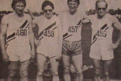 Landesmeister 4x100m Staffel M40 und 3. bei den Deutschen Meisterschaften v.l.n.r.: Hans-Hermann Neblung, Karl Wolf, Jürgen Umann und Wilfried Cordes