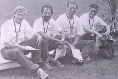 Deutscher Vizemeister 4x400m Staffel M40 in Lübeck v.l.n.r.: Hans-Hermann Neblung, Detlef Wickmann, Jürgen Umann und Karl Wolf