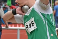 Hendrik Rössler (SuS Olfen) gewann am Samstag das Kugelstoßen der Männer (13,86m) und kam am Sonntag im Diskuswurf mit 36,96m auf den zweiten Platz.