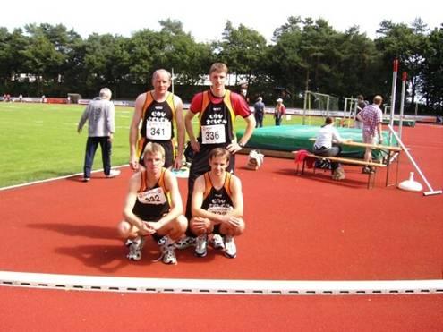 Landesmeister M30 4x100m Staffel Thomas Zschiesche, Mark Kölzow, Jens uns Rainer Dohrmann