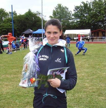 Willi Ahlgrim-Preis an Maren Schulze, LG Nord Berlin, für ihre Leistung im 200m Lauf der Frauen. Sie siegte mit der Zeit von 24,39 sec. (GW 2,0)