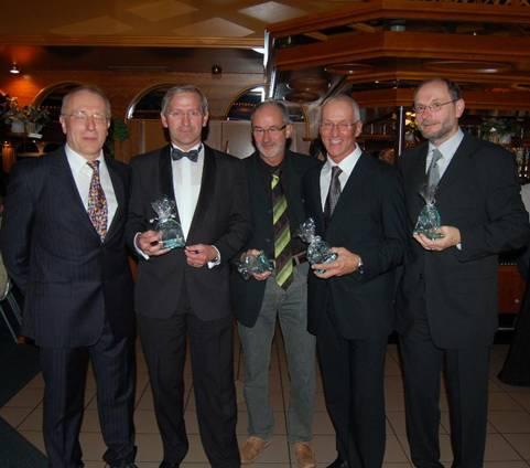 Die Leichtathleten Friedrich Müller, Jürgen Umann, Helmut Meier, Hans-Georg Müller und Joachim Hickisch (v.li.), wurden die Mannschaft des Jahres.