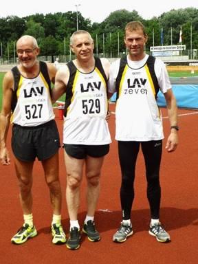 Zevener Teilnehmer an der DM in Zittau: Helmut Meier, Czeslaw Pradzynski und Andreas Müller, es fehlen Detlef Wickmann und Rainer Liburg.