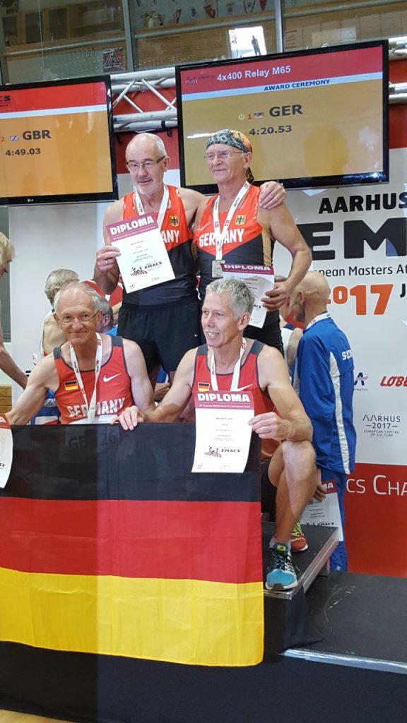 4x400 Meter Europameister M65 in 4.20,53 min. in der Besetzung Gert Brenner Helmut Meier Sygmunt Bogdan und Karl Dorschner.