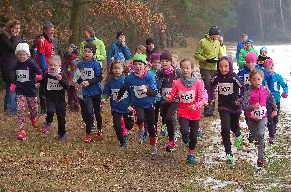 zi03a: Start der weiblichen Kinder über die 650m. In der ersten Reihe mit dabei die spätere Siegerin Solja Brandt (Nr. 613) von der LAV Zeven.