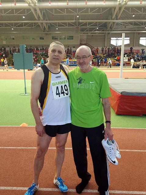 Czeslaw und Helmut nach dem Finale 60m