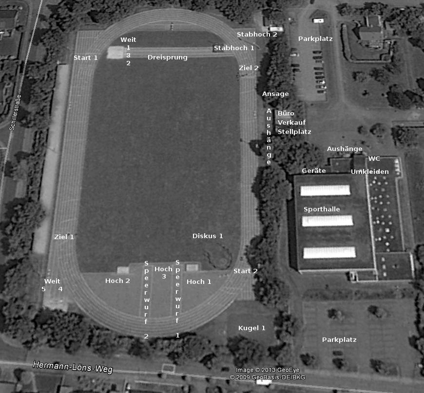 Lageplan der Sportstätten