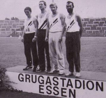 4x400m Staffel Deutscher Vizemeister 1987 Karl Wolf, Jürgen Umann, Hans-Hermann Neblung, Detlef Wickman